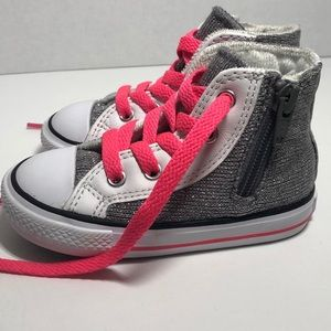 Converse Silver Sparkles/Pink Laces Toddler (6)